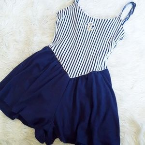 Vintage nautical stripe swim romper size 6